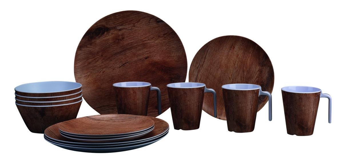 Gimex Geschirrset Holzdekor Teak 16 tlg.