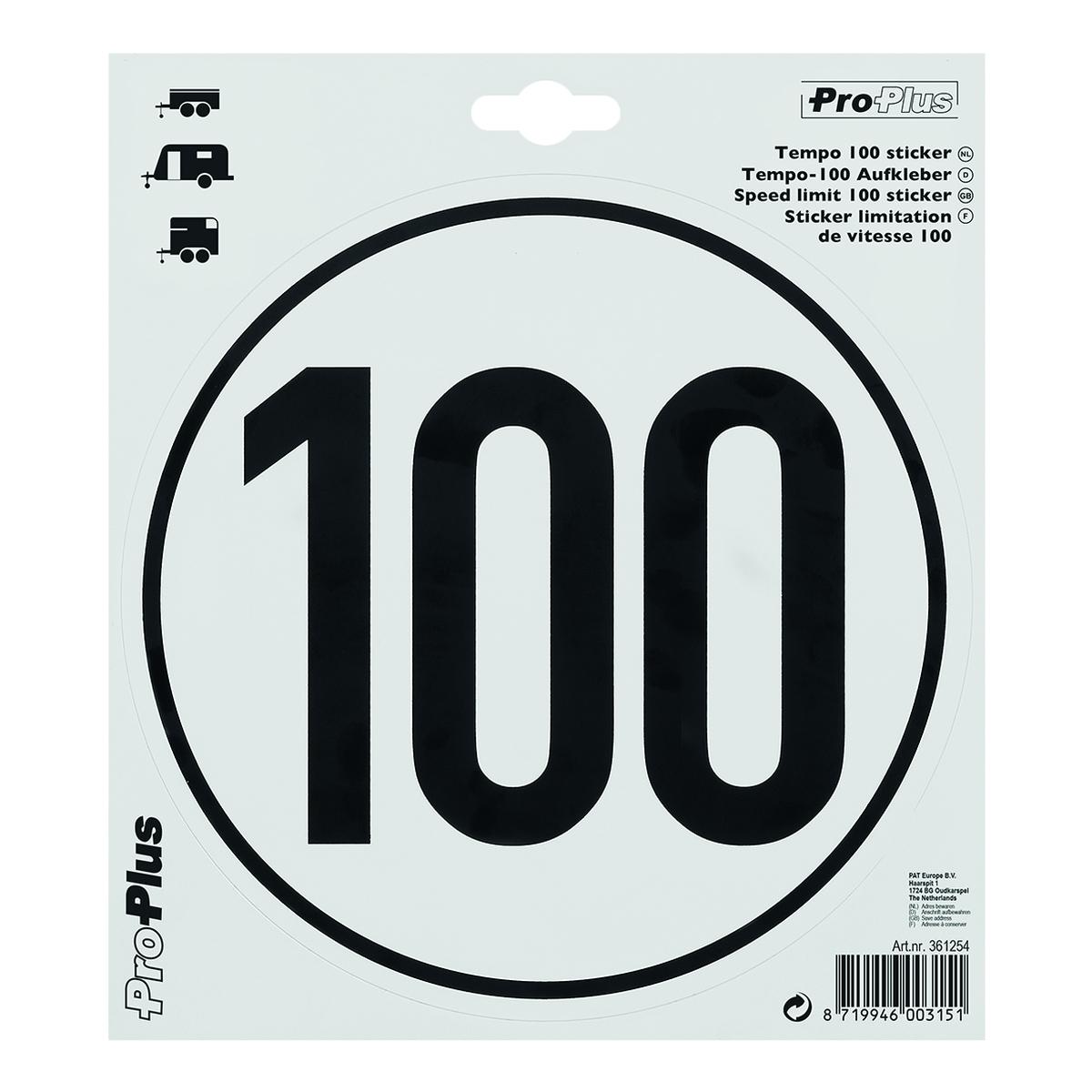 Geschwindigkeitsaufkleber 100 km/h