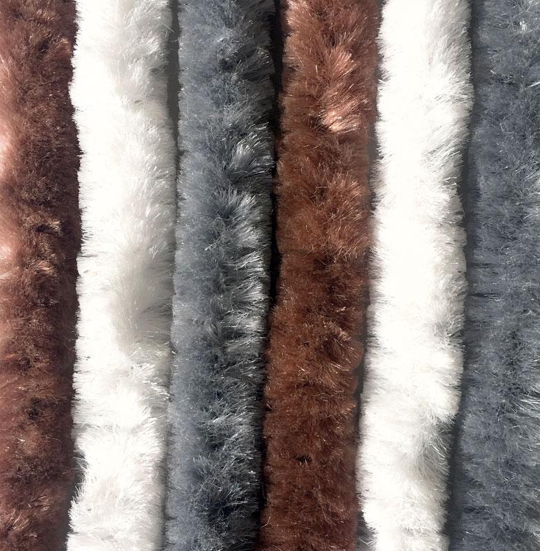 Chenille Flauschvorhang braun-weiß-grau