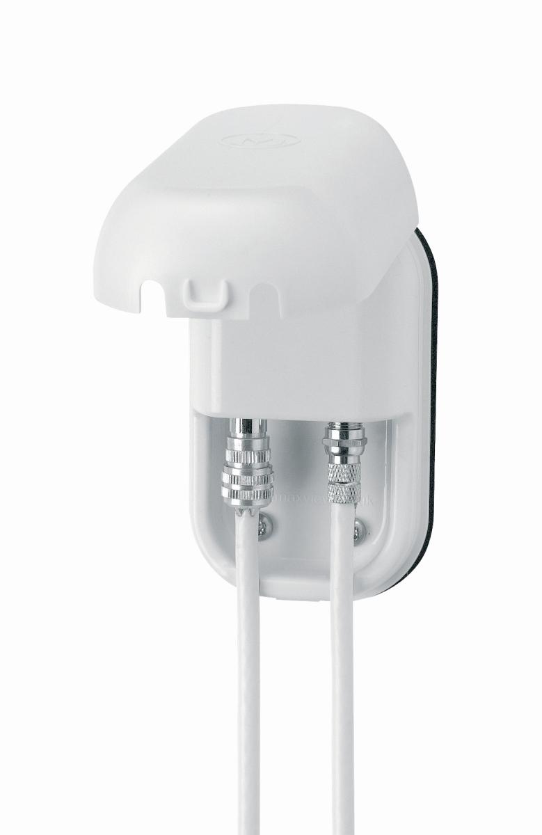 Twin-Außensteckdose für Sat/terrestrisch weiß