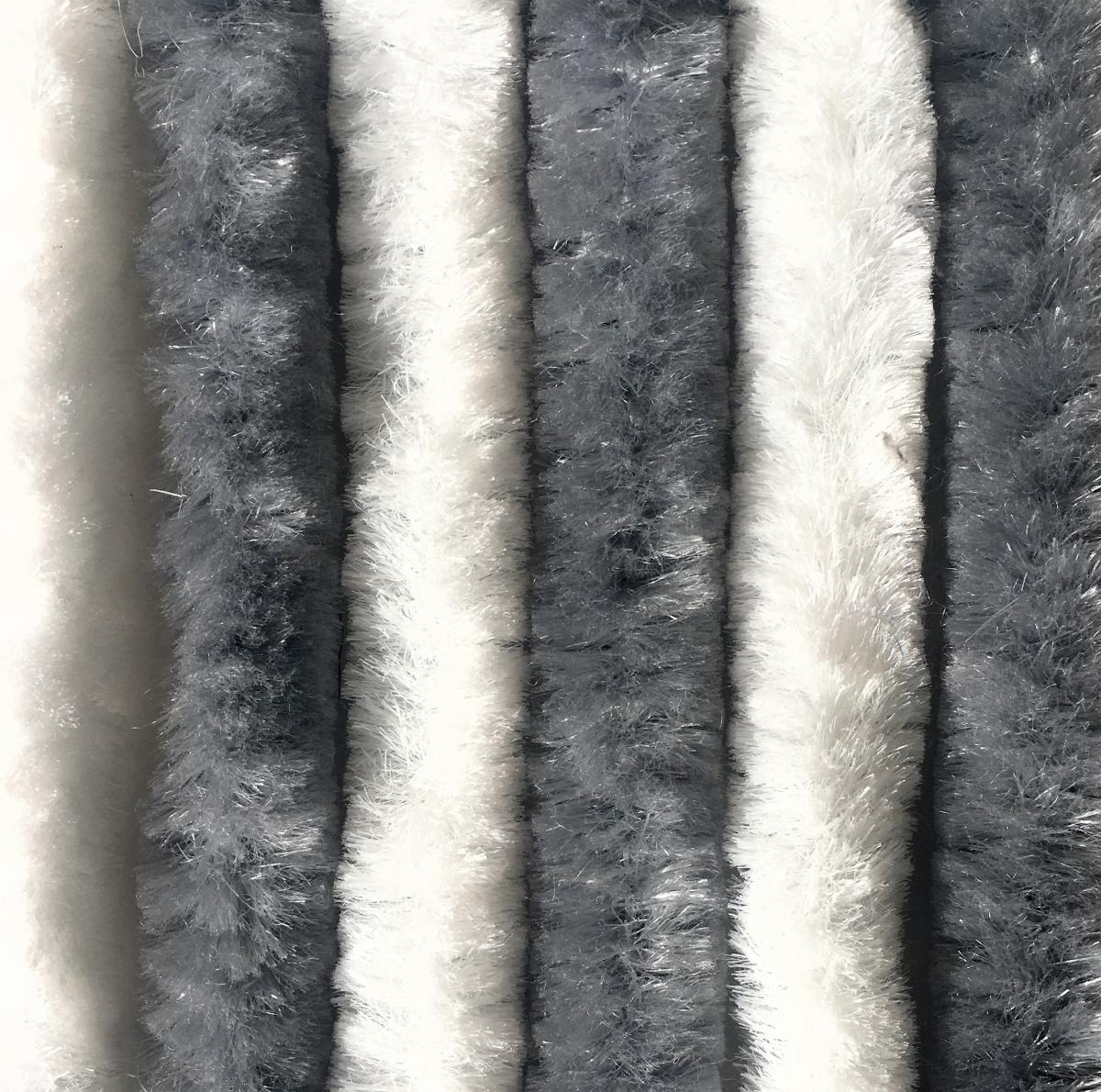 Chenille Flauschvorhang grau-weiß