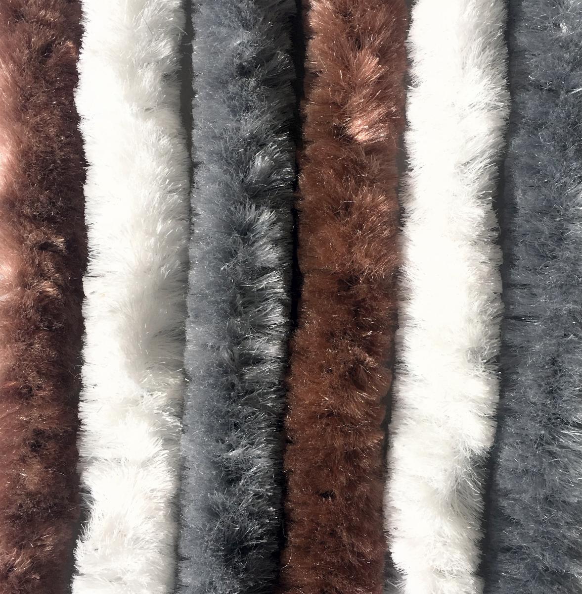 Chenille Flauschvorhang braun-weiß-grau 100x200cm