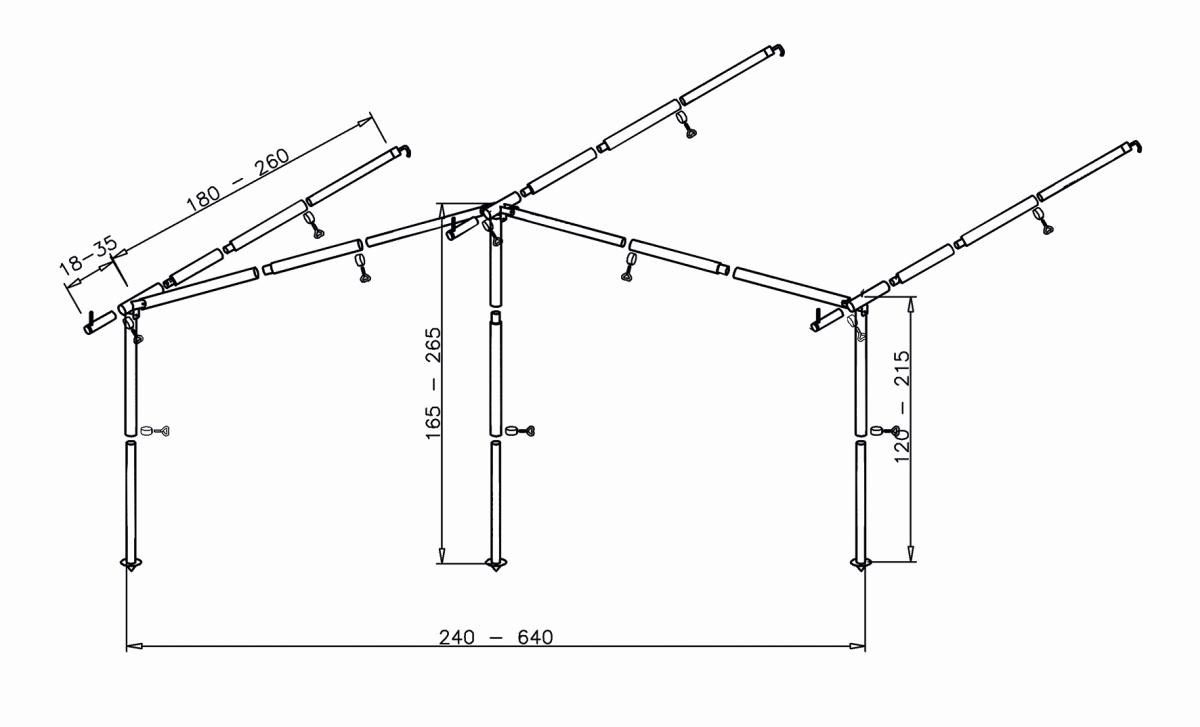Komplett- Gestänge Bungalow Stahlrohr ø 25/22 mm