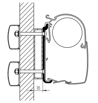 Thule Omnistor Dethleffs Globebus Adapter 350 cm