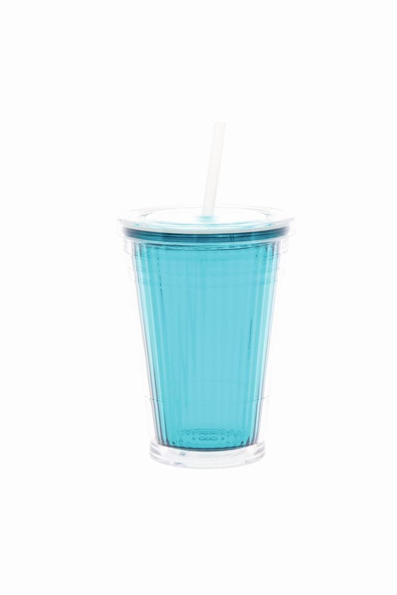 Gimex Becher mit Strohhalm blue