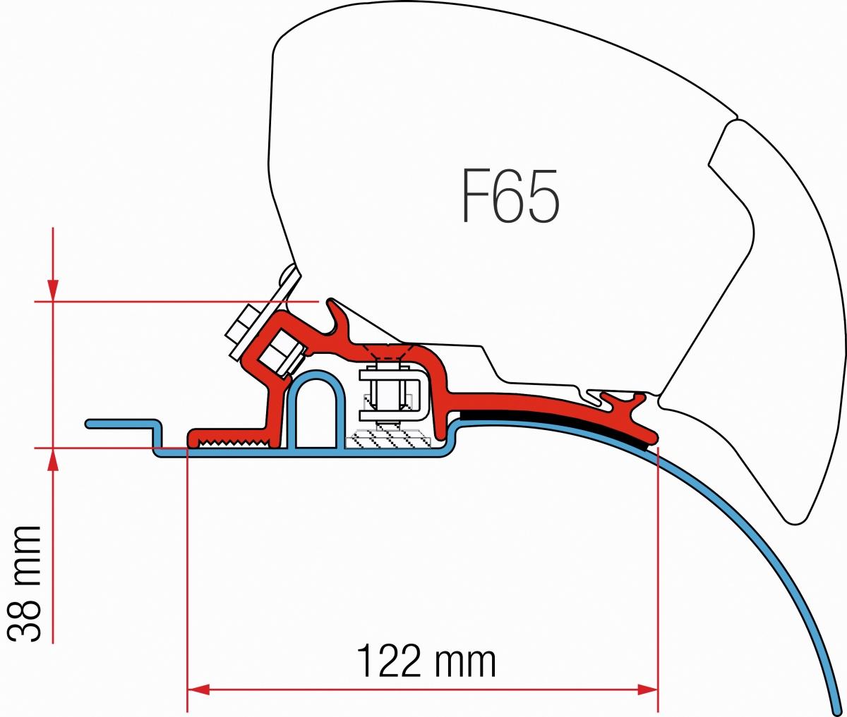 Fiamma F65 Fiat Ducato Adapter bis 2006, neidrig