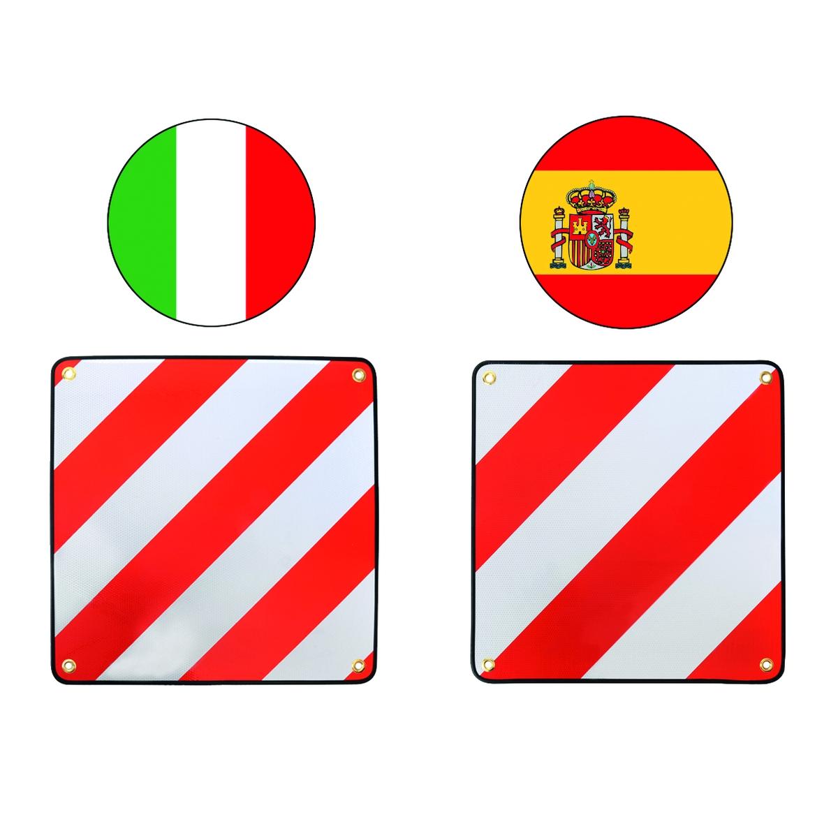 Alu-Warntafel Italien/Spanien 2in1