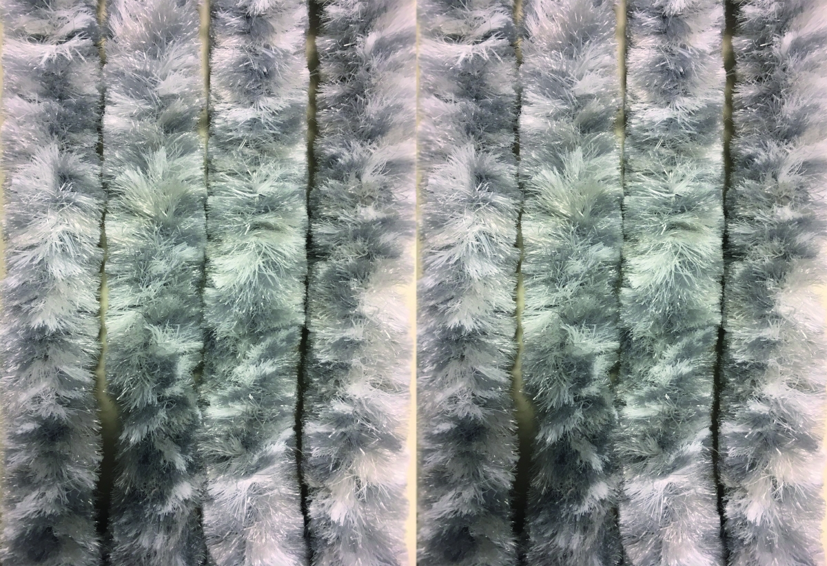 Chenille Flauschvorhang grau-weiß-silber