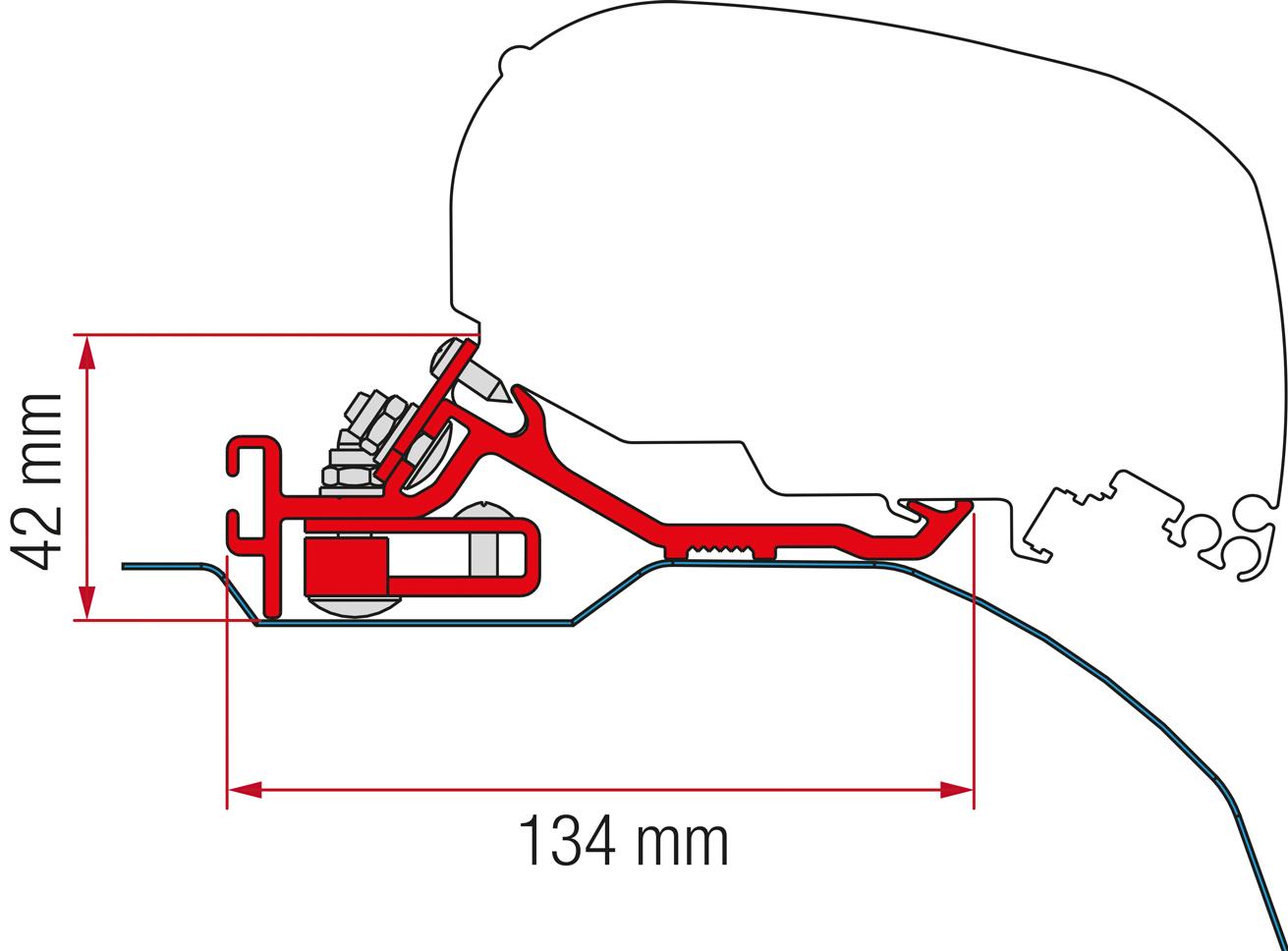 Fiamma F80 Fiat Ducato Jumper Box H2 Adapter ab 400 cm, silber