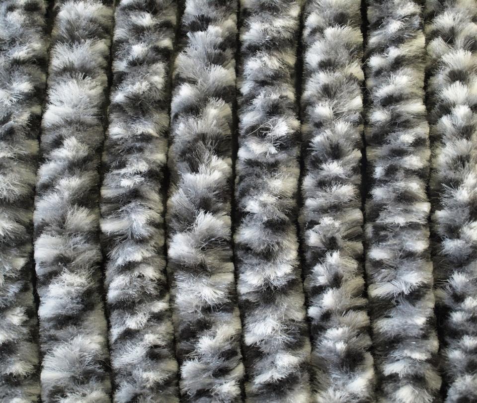 Chenille Flauschvorhang schwarz-grau-weiß