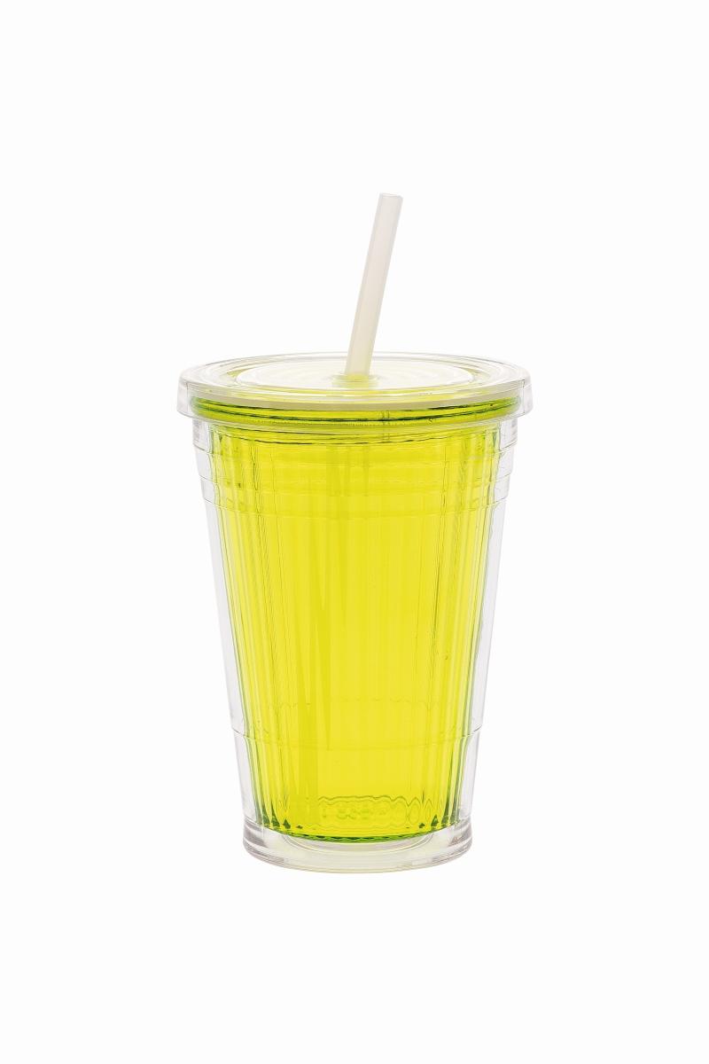 Gimex Becher mit Strohhalm lime