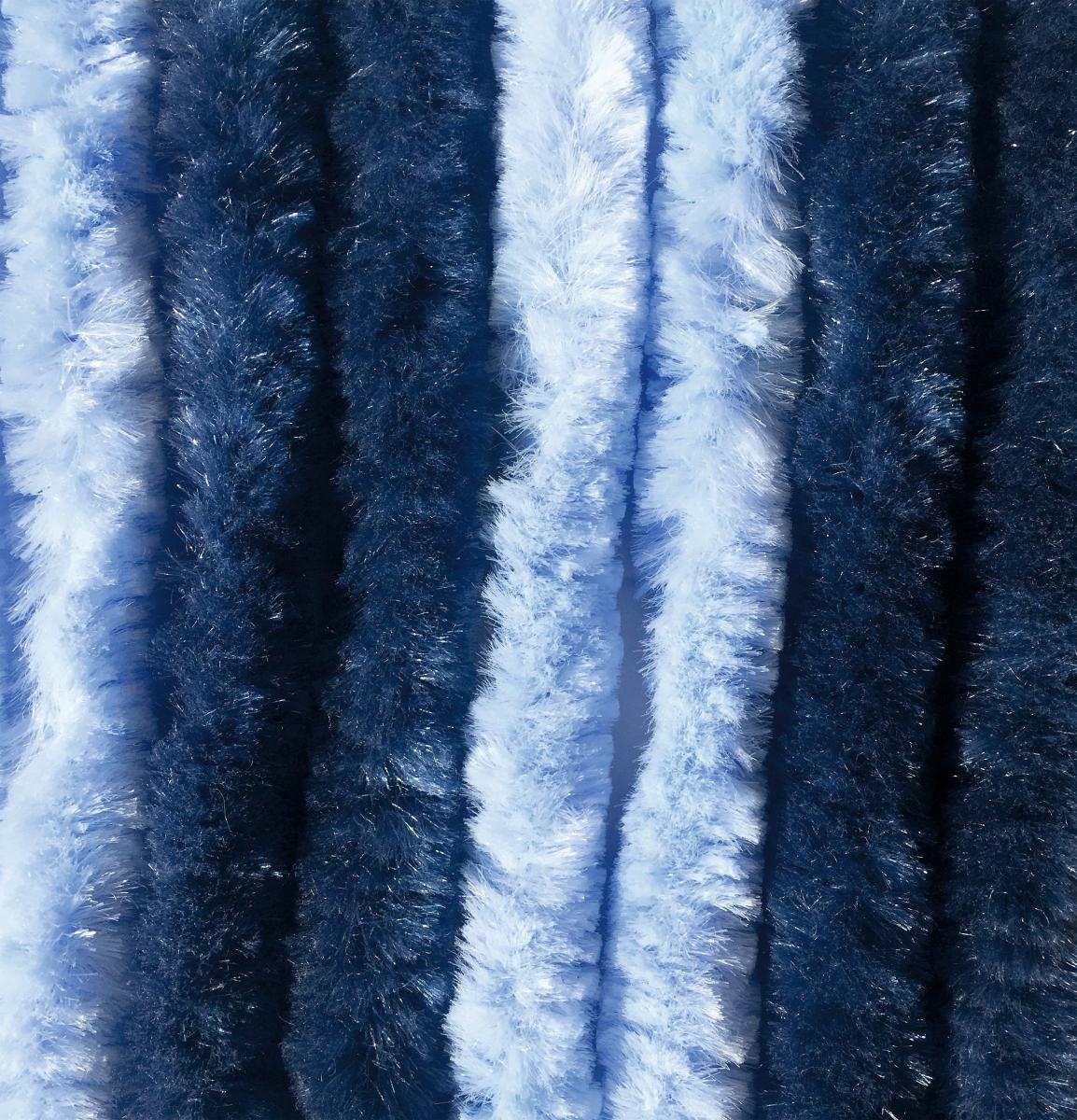 Chenille Flauschvorhang dunkelblau