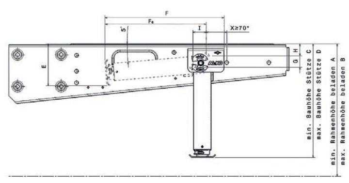 AL-KO ClickFix Hubstütze mechanisch 310-424 mm