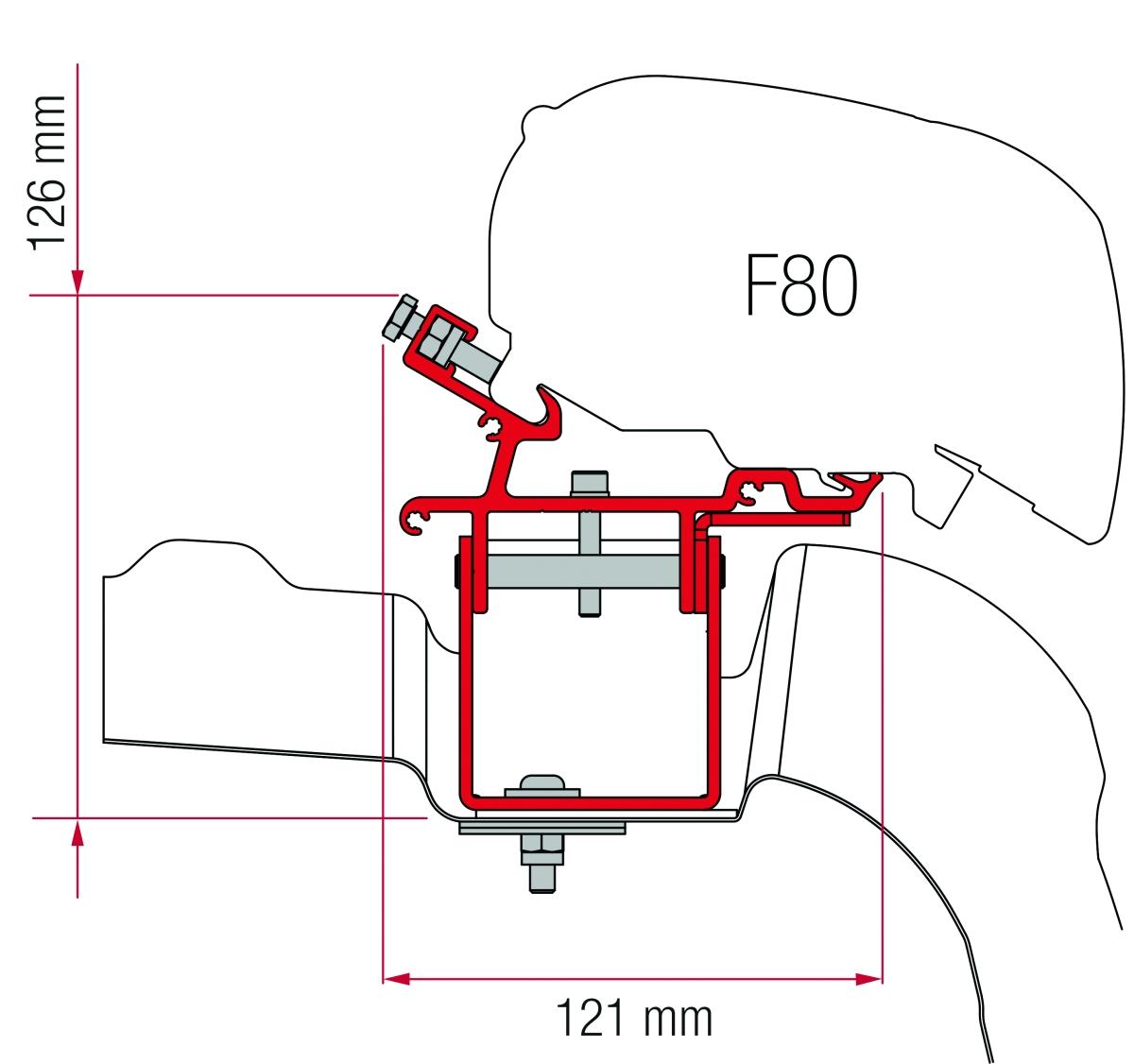 Fiamma F65 VW Crafter/MAN L3 H3 ohne Roof Rail Adapter Kit ab 2007
