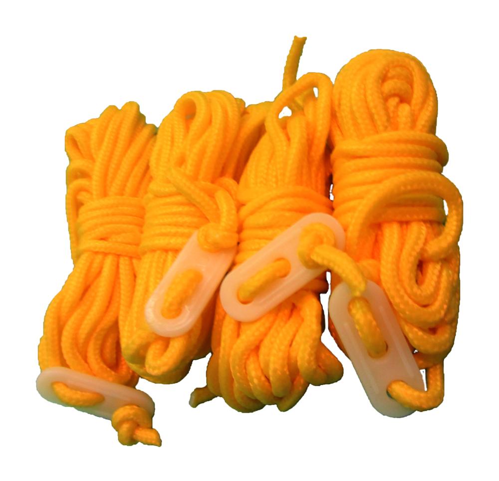 Zeltleinen gelb 4 mm, 4 m 4er Pack