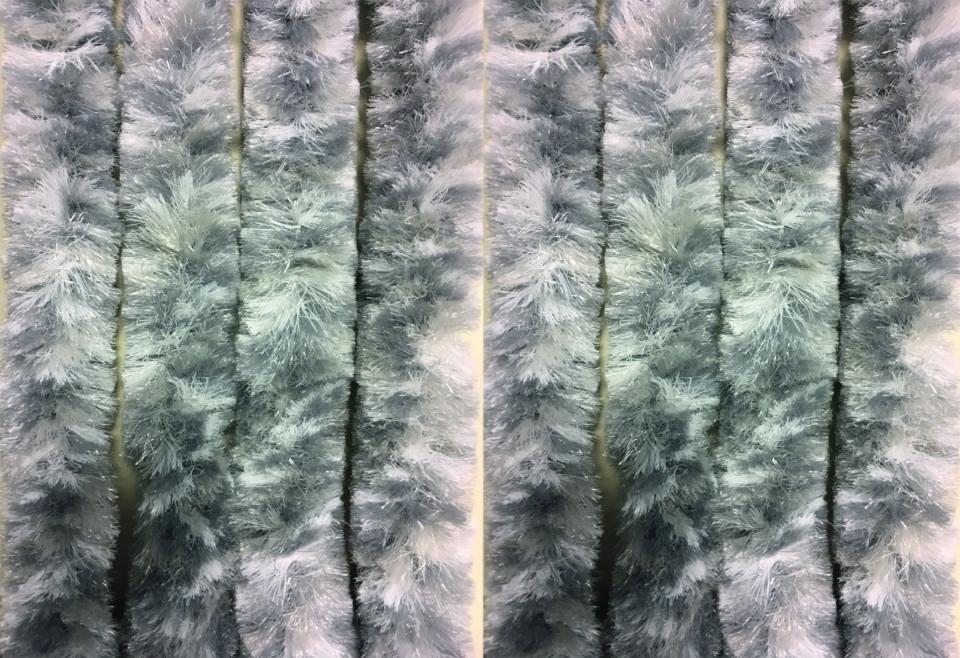 Chenille Flauschvorhang grau-weiß-silber 70x205 cm